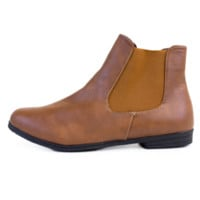 Cognac Faux Leather Chelsea Boots