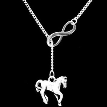 Horse Cowgirl Rodeo Ranch Farm Girl Country Western Gift Lariat Necklace
