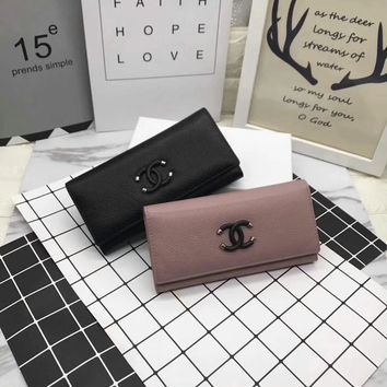 """Chanel"" Fashion Simple Women Purse Genuine Leather Long Section Button Flip Wallet Clutch"