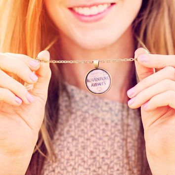 Adventure Awaits Quote Necklace