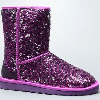 LFMON UGG 1002978 Flipped Over Sparkles Women Fashion Casual Wool Winter Snow Boots Purple