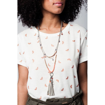 Silver multichain necklace with coins and tassel details