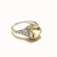 Sterling Silver Art Deco Style Ring, Filigree, Citrine Stone, Gemstone, Engagement Ring, Size 6