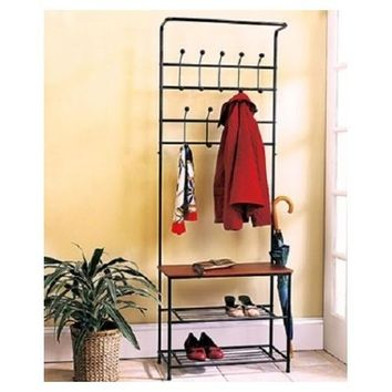 Rack Coat Hat Shoe Hall Tree Bench Wooden Metal Entryway Foyer Mudroom Storage