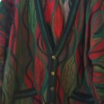 Coogi Mens XL X-Large Cardigan Textured Sweater Pockets Authentic
