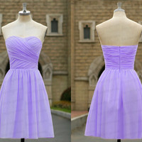 Sweetheart bridesmaid dress,short wedding party dress.handmade pleat chiffon prom dress,purple bridesmaid dress