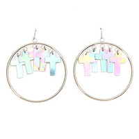 With Love From CA Hologram Cross Hoop Dangle Earrings at PacSun.com