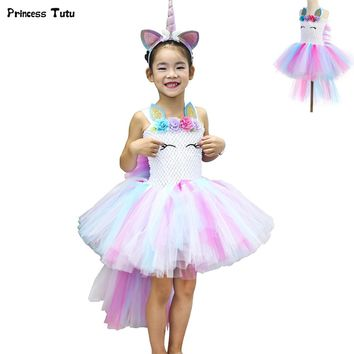 Pastel Unicorn Bustle Tutu Dress Princess Children Girls Halloween Costume Pony Fancy Kids Birthday Party Dresses for Girls 1-14