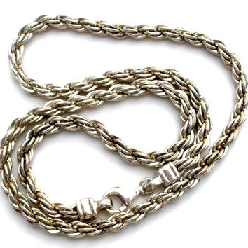 Heavy Sterling Silver Rope Chain Necklace 18""