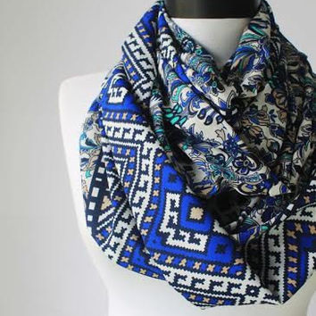 blue satin infinity scarf, scarf, scarves, long scarf, loop scarf, gift