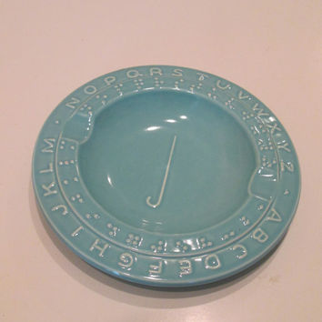 Vintage Braille Ceramic Ashtray in Turquoise