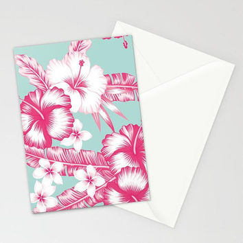 Tropical Floral Stationary,  Hawaiian Print Note Cards, Blue Floral Note Cards, Flower Hibiscus Frangipani Card, Tropical Flower Blank Card