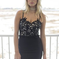 Catalina Island Black Crochet Bustier Dress