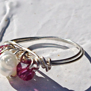 Mothers Day, Mothers ring, Easter Birthstone ring daughter granddaughter neice - Swarovski crystals and freshwater pearl