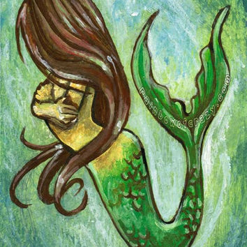 Mermaid Print, Fantasy Art, Nautical Decor, Brown Hair, 8x10 Poster, Underwater Picture, Childrens Room Art, Nursery Artwork, Green Blue
