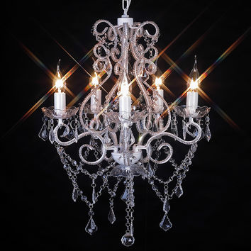 Shabby French 5 Light Acrylic Crystal Chandelier - Venice