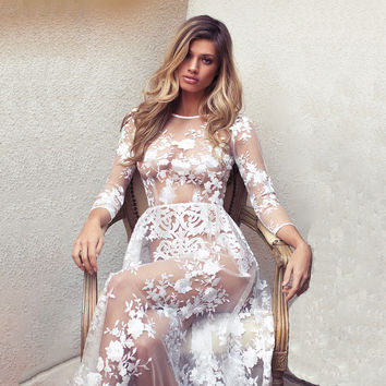 Sexy White See-Through Embroidery Long Party Wedding Dress