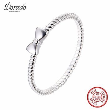 Dorado Little Girls Ring Cute Lovely Bow-knot Shaped Spiral 925 Sterling Silver Rings For Women