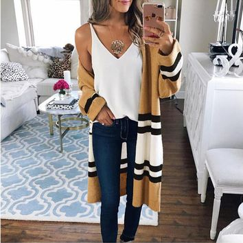 Women cardigan Sweater Autumn Spring Long Cardigans Slim Poncho Crochet Striped Knitting Stitch V-Neck long cardigan women
