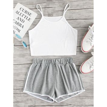 Crop Cami Top With Contrast Trim Shorts GREY