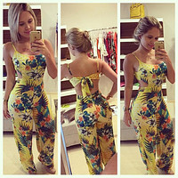 Casual 2017 Women Clubwear Summer Playsuit Bodycon Sleeveless Party Yellow Jumpsuit Romper Trouser