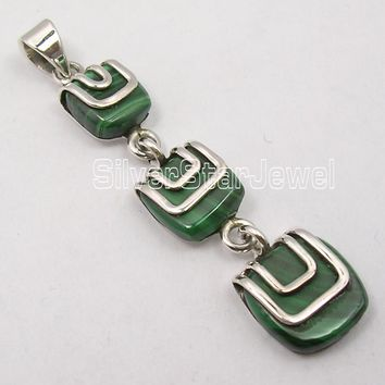 Muiltiple Choices Chanti International Solid Silver Beautiful MALACHITE DESIGNER LONG Pendant 5 CM INDIAN JEWELLERS