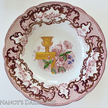 "Handpainted Antique Copeland Spode 10"" Soup Plate Red Transferware Lustre Finish Huge Roses & Urn"