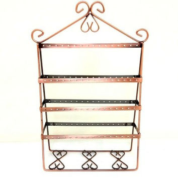 Vintage Copper Wire Jewelry Organizer Earring Holder / Earing Tree / Earing Stand / Earing Organizer