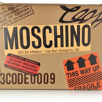 Moschino Beige Label Print Leather Clutch