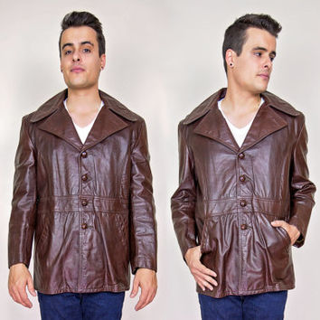 vintage mens 70s jacket / mens brown leather jacket / 70s 80s leather coats men