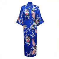 Blue Plus Size XXXL Chinese Women Silk Satin Robe Japanese Geisha Yukata Kimono Bathrobe Sexy Sleepwear Flower Nightgown A-029