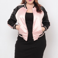 Plus Size L.A. Bomber Jacket - Blush/Black