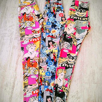 Pop Up, Comic, Pow, Kaboom Printed Leggings
