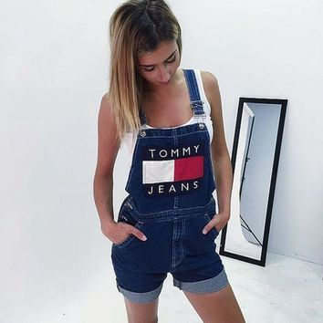Tommy Jeans Summer Classic Popular Women Loose Cowboy Sleeveless Denim Overalls I/A