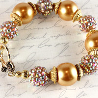 Gold Pearl and Rhinestone Pave Bracelet