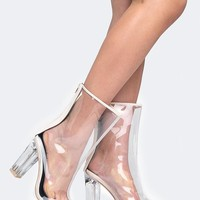 Clear Lucite Heel Sandal