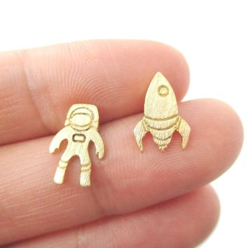 Spaceship and Astronaut Space Travel Themed Stud Earrings in Gold | DOTOLY