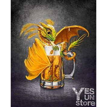 3d Diamond Painting Gold Dragon in the Cup Cross Stitch Pattern Mosaic Paste Full Area Seamless Shine Decorative Home Wall Room