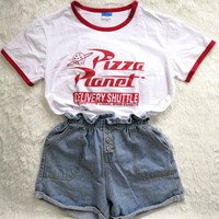 Pizza Planet Letter Printed Women Tshirt