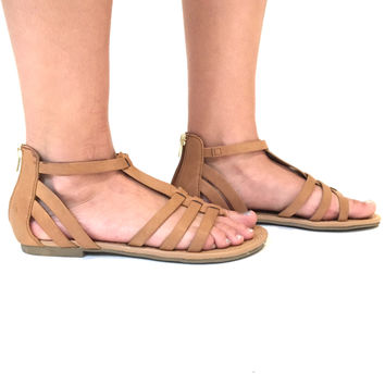 Flat Land Sandals In Tan