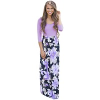 Purple Floral Boho Holiday Maxi Dress