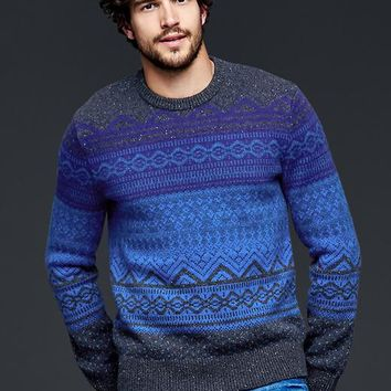 Gap Men Lambswool Fair Isle Crew Sweater