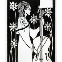 Lady with Cello, from 'Le Morte D'Arthur' Giclee Print by Aubrey Beardsley at Art.com