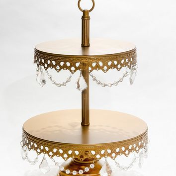 Opulent Treasures Two Tiered Chandelier Cake Cupcake Dessert Plate Stand (Antique Gold) Wedding, Birthday, Anniversary Dessert Table Decorations