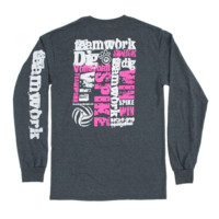 Lucky Dog Volleyball :: Volleyball Teamwork Long Sleeve Tee Shirt 11.111.D74.2X
