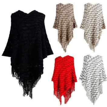 Lady Women's Poncho Cardigan Batwing Tassel Knitted Cape Sweater Shawl Coat Tops