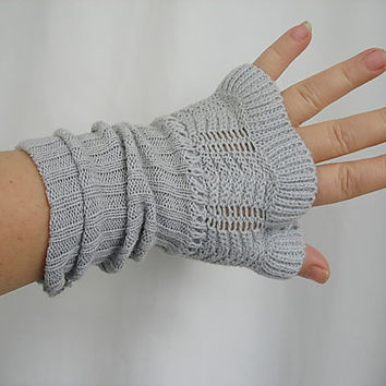 Grey recycled textile dress arms,repurposed boho gloves