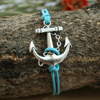 Anchor bracelet-adjustable turquoise anchor charm bracelet, anchor bracelet for boyfriend
