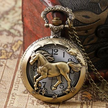 Horse Pocket Watch Bronze Horse Gift