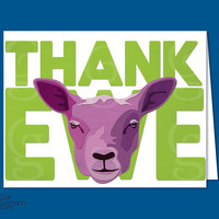 "Thank You notes, Greeting Cards, ""Thank Ewe"" Sheep, Cut paper, Burlap texture, Funny, Printed Design on Cardstock, Blank 5.25x4in & Envelope"